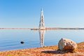 Bell tower of of the flooded church in uglich reservoir on volga river Royalty Free Stock Photography