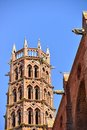 Bell tower of les jacobins church in toulouse france and gargoyles Stock Photo