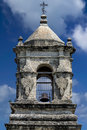 Bell tower at mission san jose the top of in antonio tx Royalty Free Stock Images