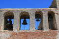 Bell tower at mission san juan capistrano bells the in was erected a year after the the great stone church was Stock Photos