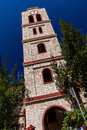 Bell tower of orthodox church in pefkochori greece an a small tourist town greek πευκοχώρ located the southeast the Royalty Free Stock Image