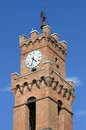 Bell tower in pienza of the town hall of italy Stock Photography