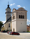 Bell tower and st george church summer view of located on main square of historical spisska sobota town currently city district of Royalty Free Stock Photos