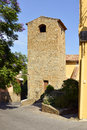 Bell tower of village bormes les mimosas in france commune the var department provence cote d azur and alps region the south Stock Photo