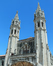 Bell towers and spires two with at the jeronimos monastery in belem lisbon portugal late gothic manueline portuguese architectural Royalty Free Stock Photography