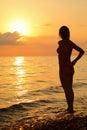Bella donna della siluetta che si leva in piedi sulla spiaggia Fotografia Stock