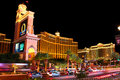 Bellagio and caesars palace las vegas usa may is a hotel casino located on the famous las vegas strip a large fountain pool is Stock Photo