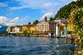 Bellagio shore from public park at lake como, italy Royalty Free Stock Photo