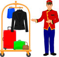 Bellboy hotel service and Luggage trolley