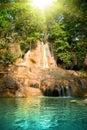 Belle cascade à écriture ligne par ligne dans la forêt Photo libre de droits