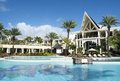 Belle Mare, Mauritius  - June 26, 2015: The Residence hotel pool area, Mauritius, 2015 Royalty Free Stock Photo