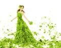 Bellezza di fantasia donna in vestito dalle foglie Fotografia Stock Libera da Diritti