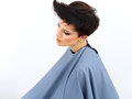 Bello castana con i capelli di scarsità nel salone di capelli immagine di alta qualità Fotografia Stock Libera da Diritti