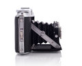 Bellows camera side view isolated on white background Stock Images
