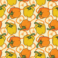 Bellpeppers on a yellow background in seamless pattern Stock Photo