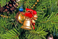 Bells and Bows Christmas Tree Ornaments Royalty Free Stock Photo