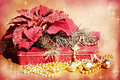 Bells, Christmas Tree, Poinsettia and Gift Royalty Free Stock Photo