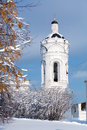 Belltower for the church of st george in kolomenskoye at winter moscow Royalty Free Stock Images