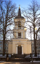 Belltower of Holy Trinity Church, Helsinki. Was built in the neo classical style Royalty Free Stock Photo