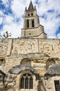 The belltower of the monolithic church in saint emilion france Royalty Free Stock Photography