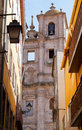 Belltower of old church in the city porto portugal Stock Images