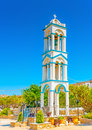 Belltower the of an old church at pserimos island in greece Royalty Free Stock Photos