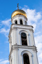 Belltower over blue sky of iversky monastery in samara russia Royalty Free Stock Photography