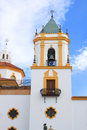 Belltower in ronda spain of a colorful moorish church Royalty Free Stock Photo