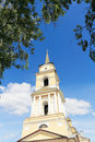 Belltower russian orthodox church against the sky Stock Photography