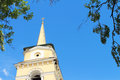 Belltower russian orthodox church against the sky Royalty Free Stock Photography