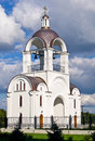 Belltower of russian orthodox church in tallinn the icon the mother god quick to hearken estonia Stock Images