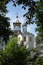 Belltower with turrent clock turret in russian monastery suzdal Stock Image