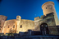 Bellver castle fortress in palma de mallorca the famous beautiful night illumination spain travel destination landmarks of Stock Photos