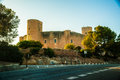 Bellver castle fortress in palma de mallorca the famous beautiful sunset light against blue sky spain travel destination Stock Image