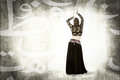 Belly dancer in an abstract arab space person emotions and expressions portrait Stock Image