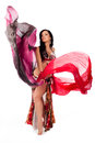 Belly Dancer Dancing with Multicolored Veils Royalty Free Stock Image