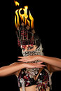 Belly Dancer with Fire Headdress Royalty Free Stock Photos