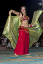 Belly dancer performance dubai in desert uae united arab emirates Stock Photography