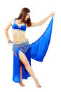 Belly dancer young beautiful girl in a blue costume Royalty Free Stock Photos