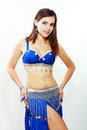 Belly dancer young beautiful girl in a blue costume Royalty Free Stock Images