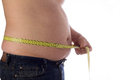 Belly measuring a fat from man with tape Royalty Free Stock Photos