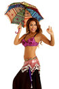 Bellydancer with parasol pretty belly dancer umbrella shot on white background Stock Photo
