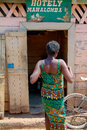 Belo sur tsiribihina african woman in front of a restaurant on sept in west of madagascar Royalty Free Stock Photography