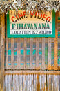 Belo sur tsiribihina front of a rustic video shop on sept in the typical village of western madagascar Stock Photography