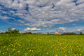 Belorussian country near minsk spring sky and clouds Stock Photo