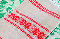 Belorussian towel with vintage ornament traditional red Stock Photo