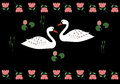 Beloved swans couple of painting in indian style Royalty Free Stock Images