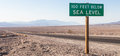Below sea level death valley usa road sight in the middle of the desert Stock Photography