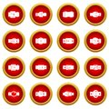 Belt buckles icon red circle set