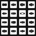 Belt buckles icons set squares vector